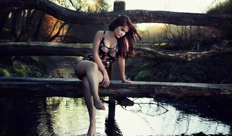 природа, девушка, девушки, деревянный, мостик, водоём,