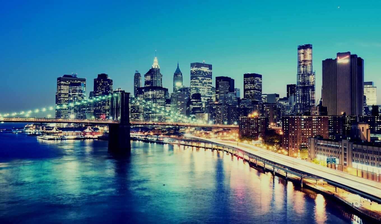 manhattan, new, york, нью, город, здания, ny, bridge, lower,