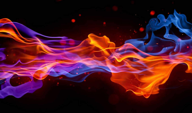 ,огонь, лед, волны, красный, синий,