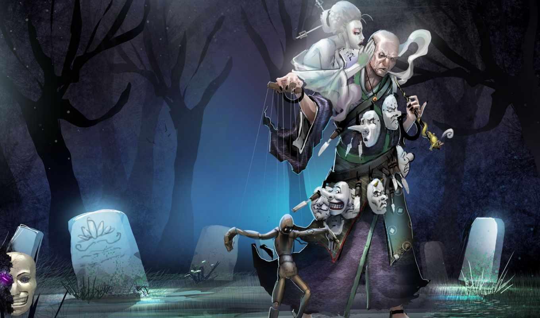 кладбище, маски, взгляд, ночь, склеп, ghost, doll, мужчина, деверья, надгробие, darkness,