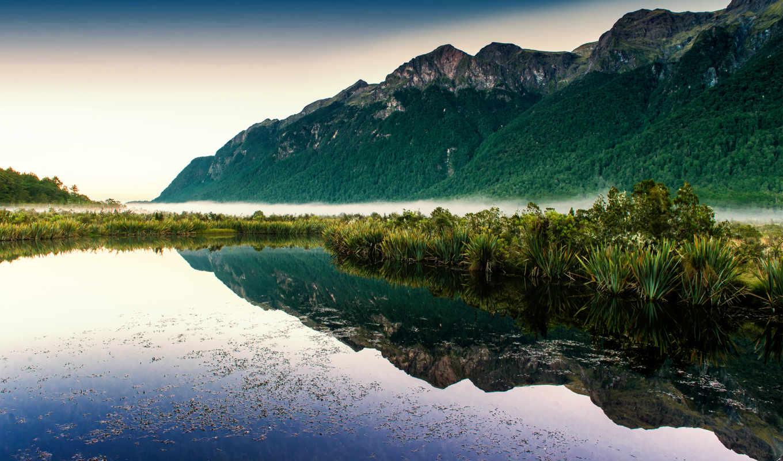 красивые, озеро, water, туман, страница, горы, summer, grandwallpapers, гор, фоны,