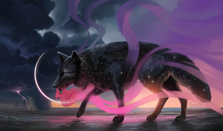 волк, art, magical, artist, fantasy, фон