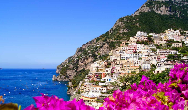 amalfi, italy, скалы, город, картинку, картинка, кнопкой, мыши,