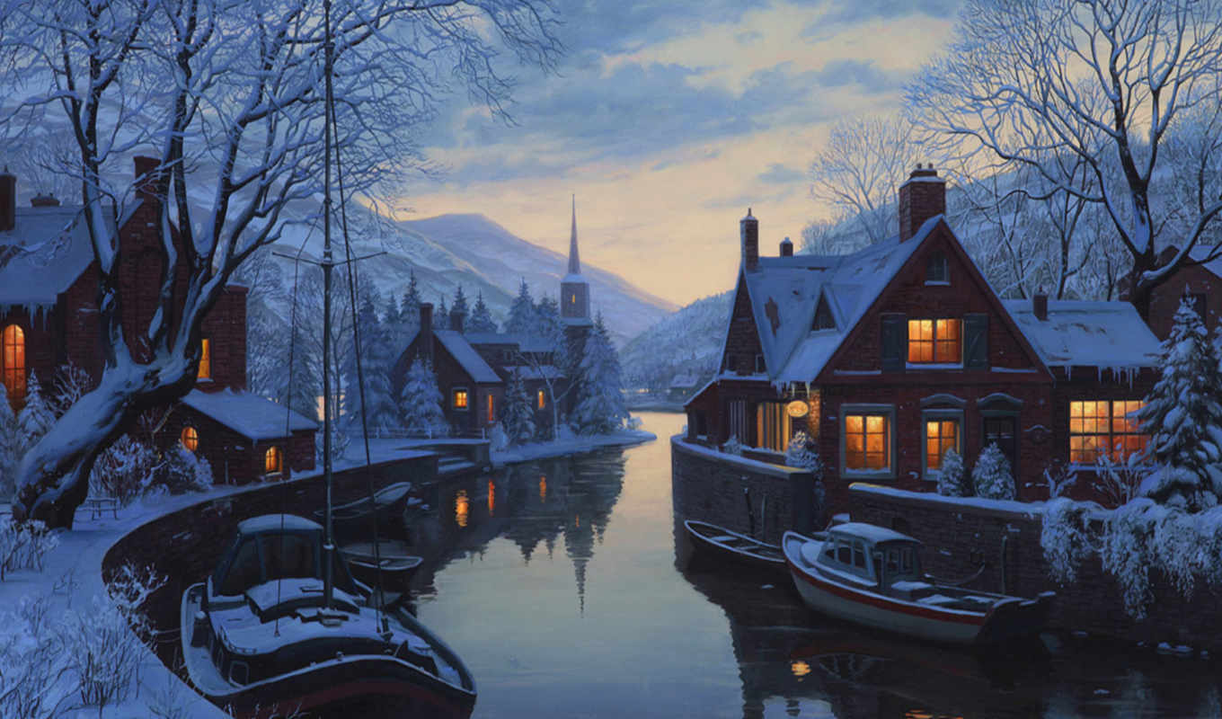 lushpin, winter, an, eugeny, chapel, river, houses, inn, trees, painting, snow, евгений, картинку,