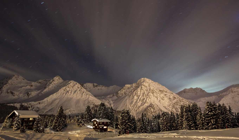 горы, zima, noch, небо, снег, звезды, пейзаж, luna, priroda,