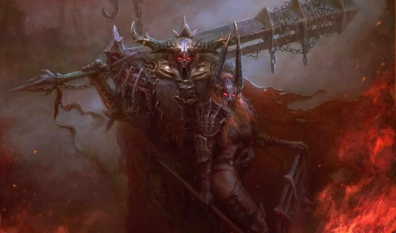 доспех, fantasy, art, воин, рога, свет, горящие,
