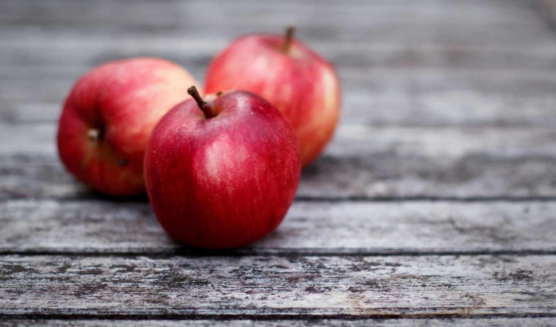 красные, яблоки, фрукты, серые, доски,