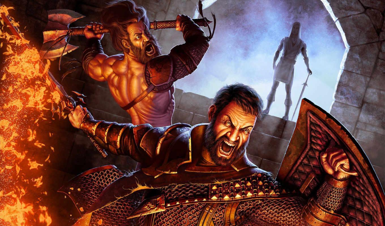 меч, битва, rage, browse, огонь, impact, мужчины, топор, качели, щит,
