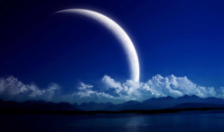 небо, луна, ночь, attachment, full, ultradroid,