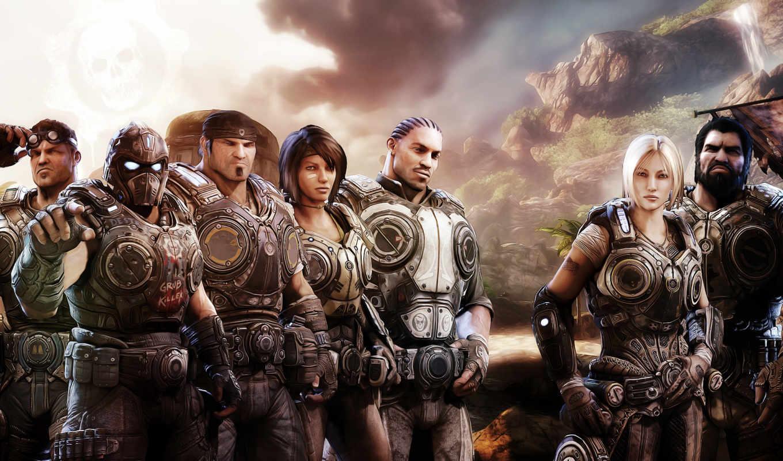 war, gears, персонажи, маркус, phoenix, гора, техника, devushki, anne,