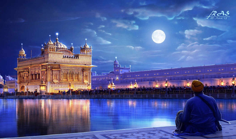 india, города, храм, ночь, дома, landscape, луна, страница, золотистый, punjab,