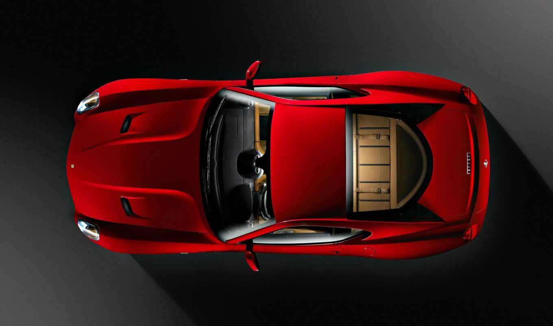 cima, carro, papel, visto, parede, ferrari, vermelho, carros, top, sobre,