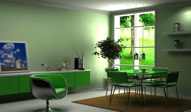 кухни, цвете, зеленом, интерьере, дизайн, кухня,