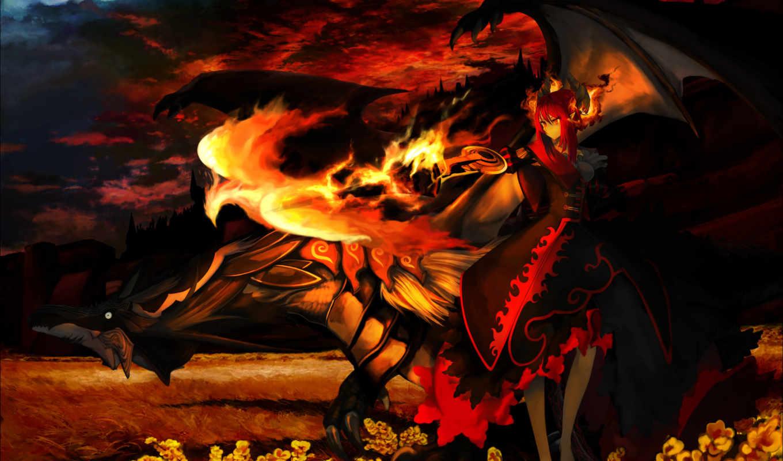 феникс, дракон, демон, пламя,