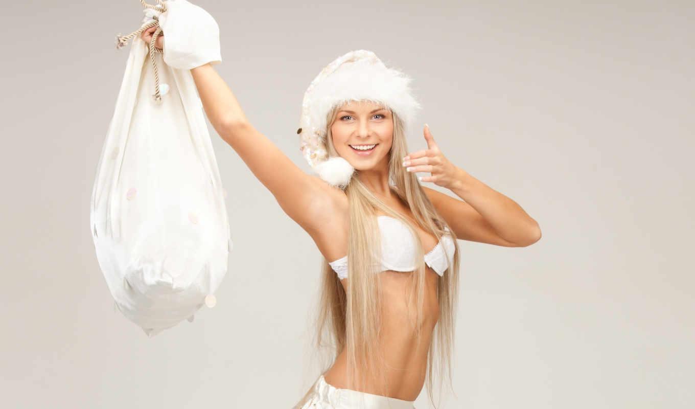снегурочка, blonde, шапка, красная, красавица, new, год,