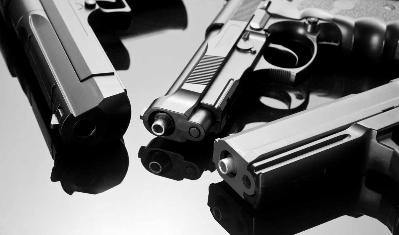 gun, три, пистолета, оружие, отражение, широкоформатные, states,