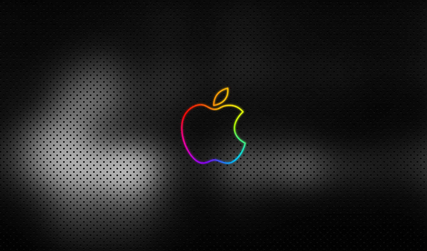 apple, neon, iphone, black, logo