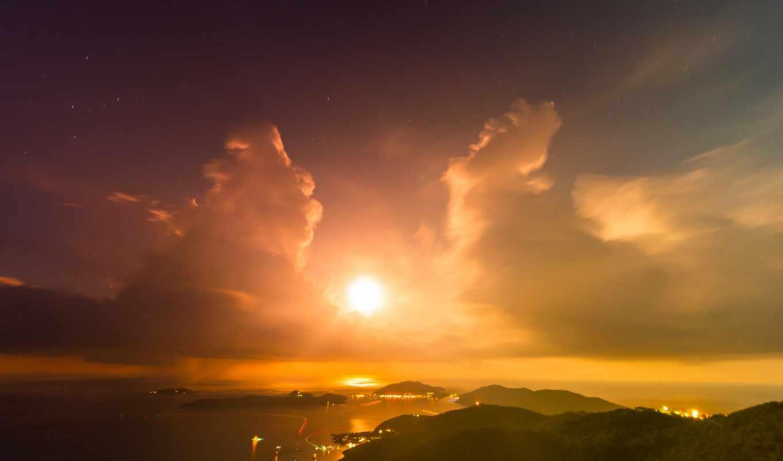 sun, облака, горы, закат, залив, вечер, огни, острова,