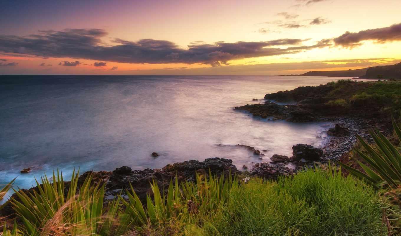ocean, закат, побережье, hawaii, природа, usa,