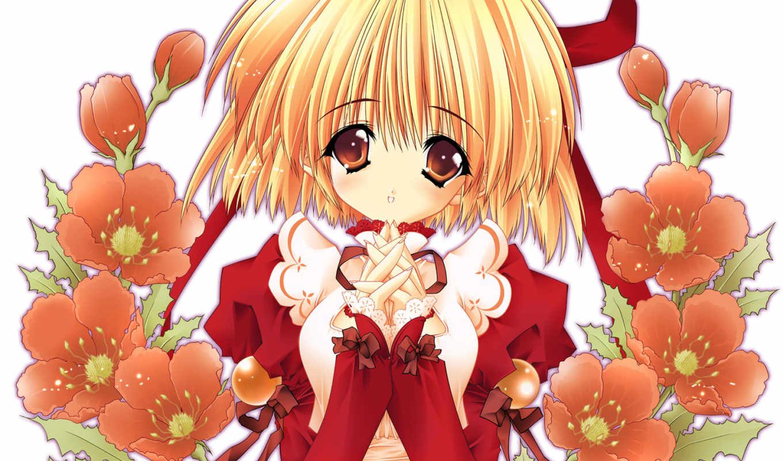 anime, flores, chicas, para, девушка, fondo, more, facebook, con, chica,