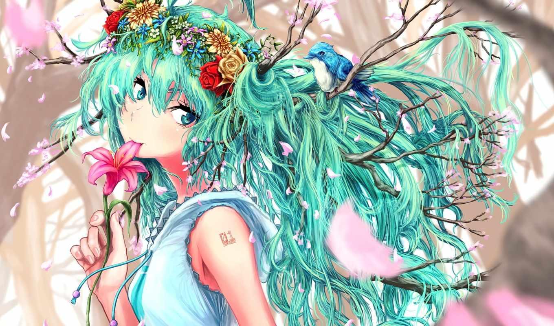 miku, hatsune, vocaloid, anime, cherry, птица, Сакура, дерево,