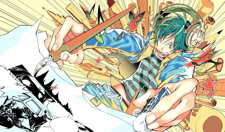 anime, кисточка, artist, рисует, headphones, ручка, bakuman,