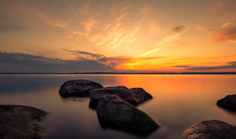 summer, rock, dusk, закат, фон, mac, озеро, во