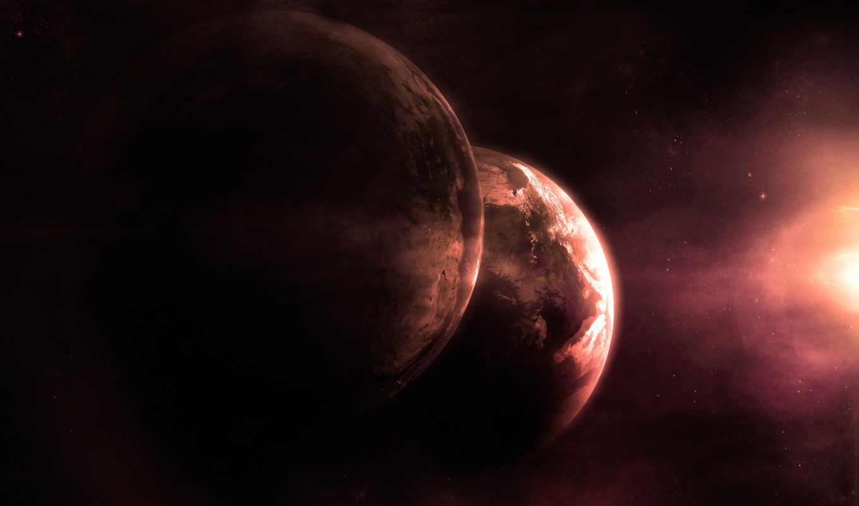 мрак, планеты, свечение, пространство, звезды, картинка,