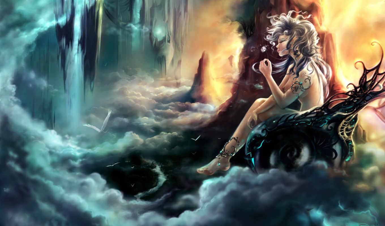 богиня, девушка, небеса, цветок, облака, птицы, картинка, кнопкой,