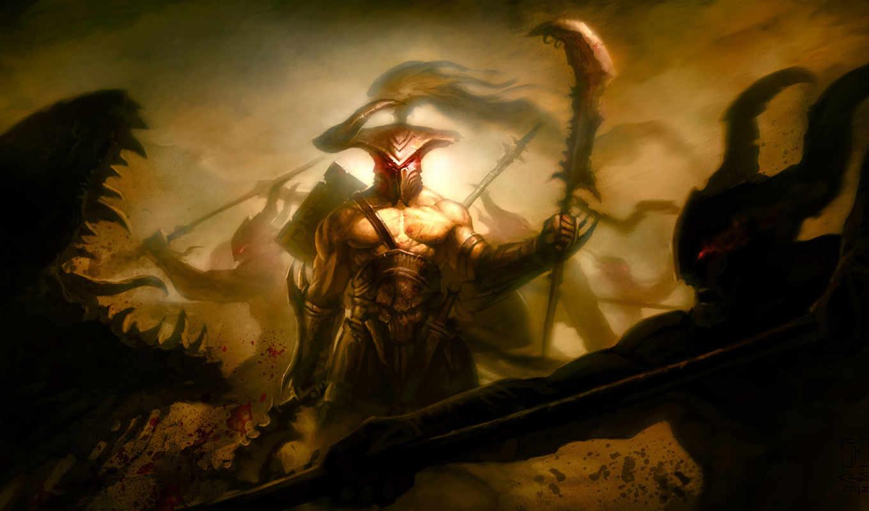 монстры, арт, битва, пасть, воин, поле, рана, кровь, брани,