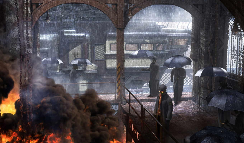 зонтики, дождь, улица, графика, люди, маска,