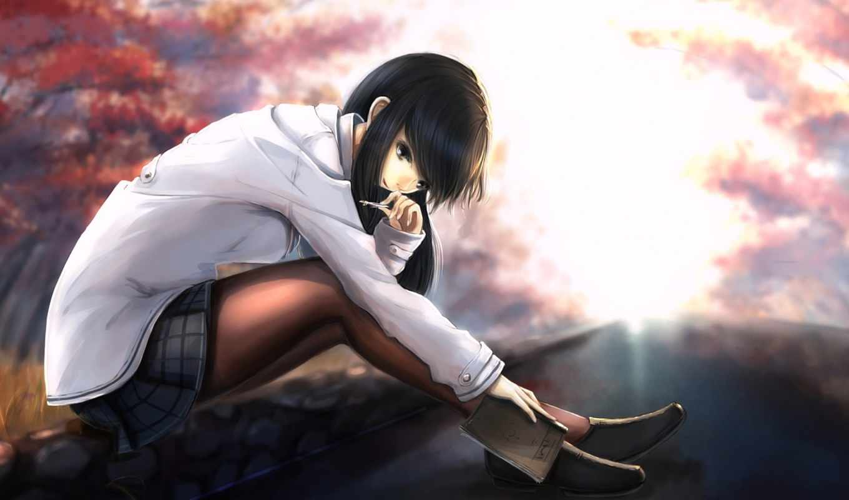 anime, девушка, sitting, волосы, girls, eyes,