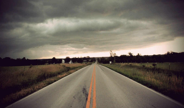 облока, город, тучи, дорога, поле, под, небом, уходит, дрога, вдаль, серым,