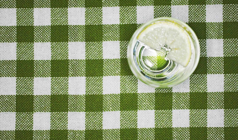 скатерть, лимон, стакан, вода, макро, лимоном, зелёная, картинка,