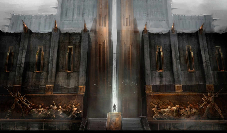 человек, age, город, киркволл, крепость, лестница, dragon, ворота, дымка, дверь, dragona, iphone, картинку,