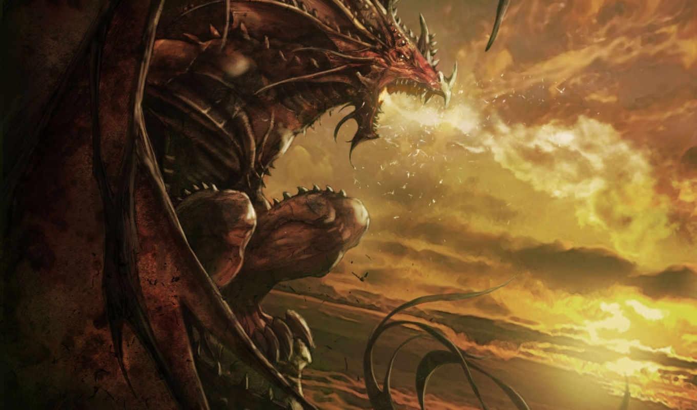пасть, дракон, огонь, профиль, арт, картинку, картинка,