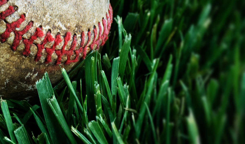 baseball, grass, macro, sports, download, full, view,