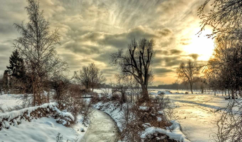 пейзаж, деревья, река, небо, природа, снег, облака, зима, картинка,