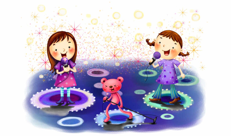 нарисованные, дети, девочки, медвежонок, прожекторы, звезды, микрофон, радость