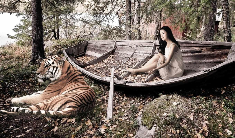 тигр, девушка, листья, лодка, девушки, опавшие, деревья,