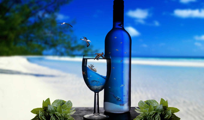 ocean, берег, море, бутылка, песок, underwater, glass,