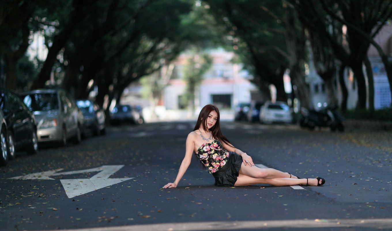 девушка, взгляд, азия, улица,