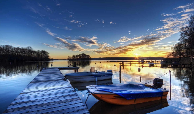 лодки, февр, лодка, тент, закат,