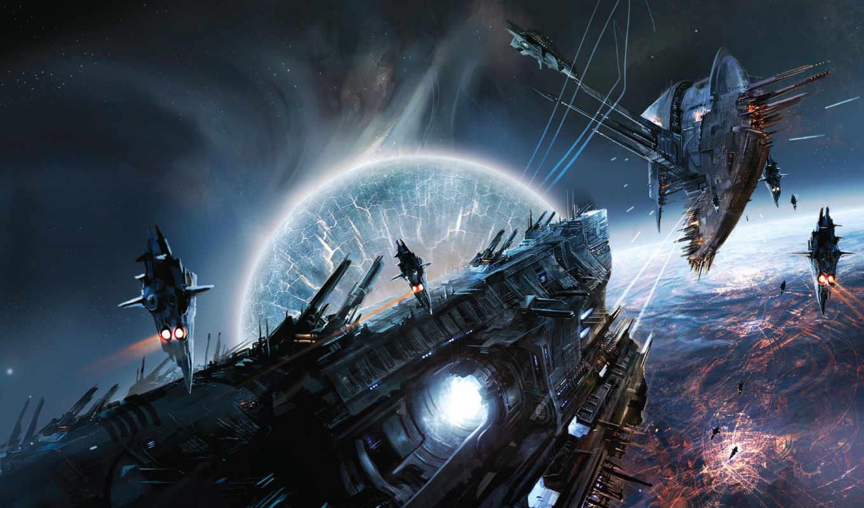 cosmos, fantasy, корабль, art,