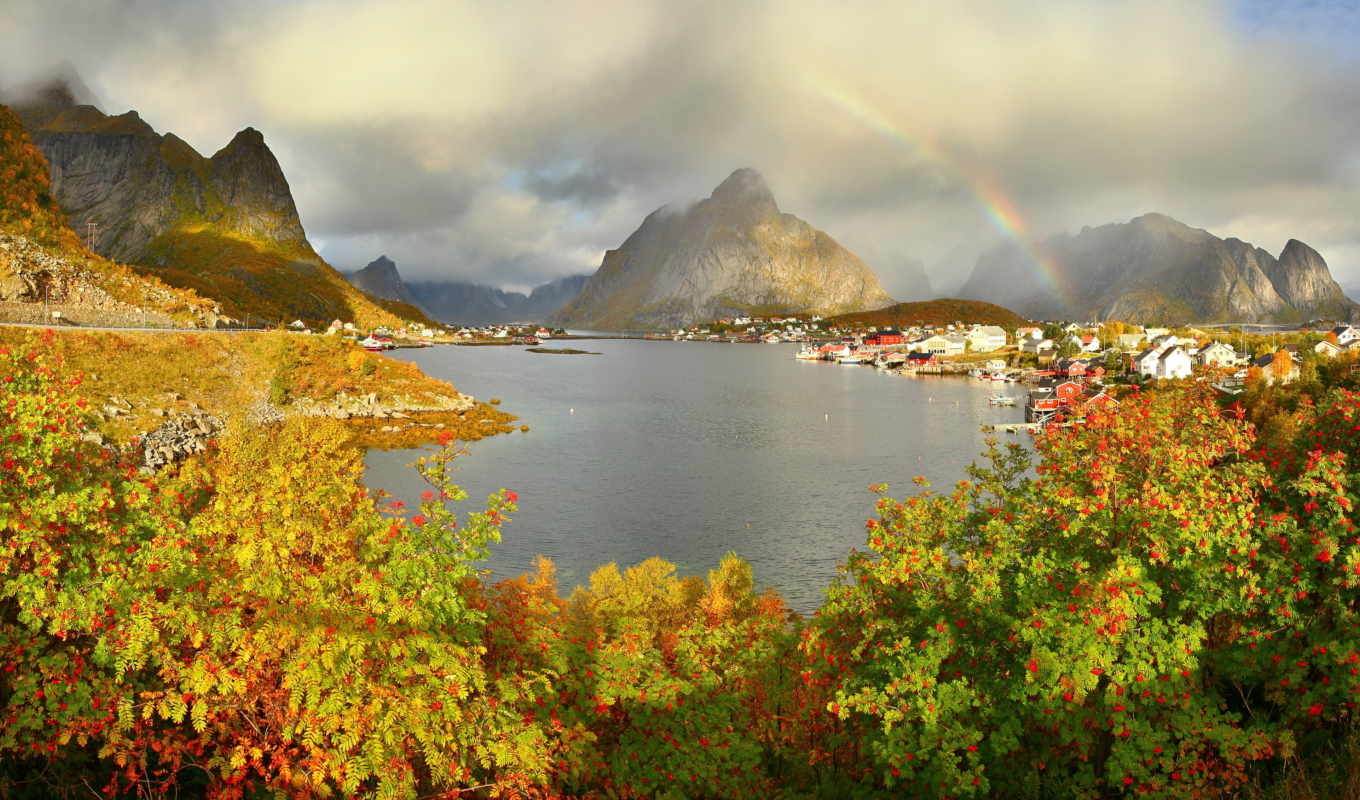 reine, gravdalsbukta, , rainbow, clouds, shrubs, rivers, mountains,