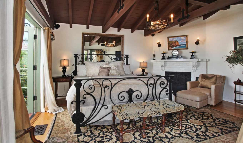 интерьер, свечи, спальня, стулья, кровать, design,
