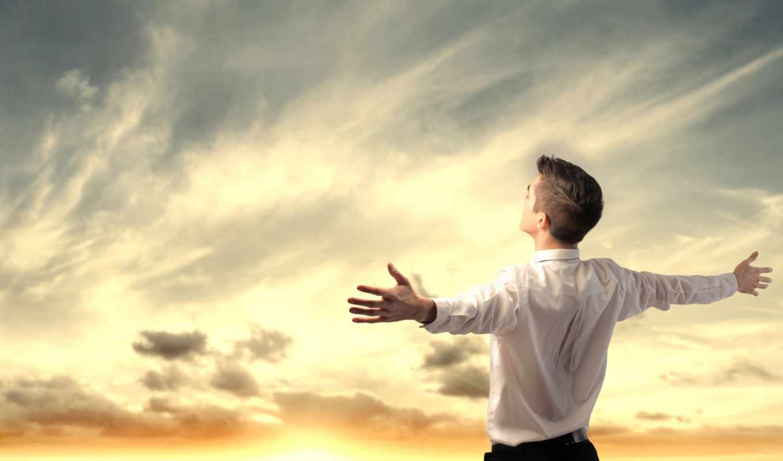 руки, небо, мужчина, облака, радость