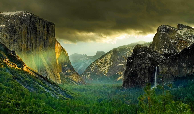 природа, горы, лес, долина, скачали, winter, озеро,