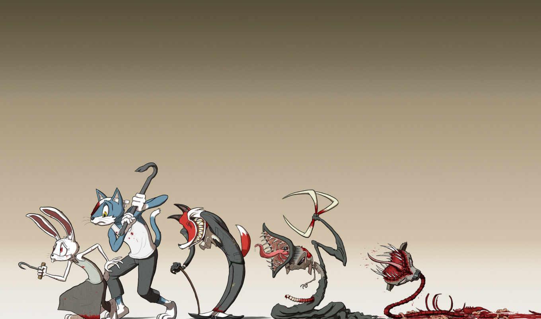 кролик, заяц, зубы, кровь, минимализм,