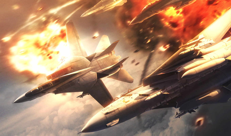 ace, combat, небе, рисованные, небо, взрывы, bang,